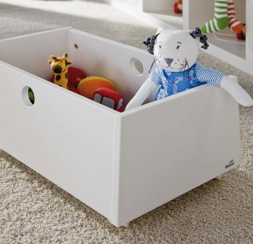 Деревянный ящик на колесах для игрушек 4