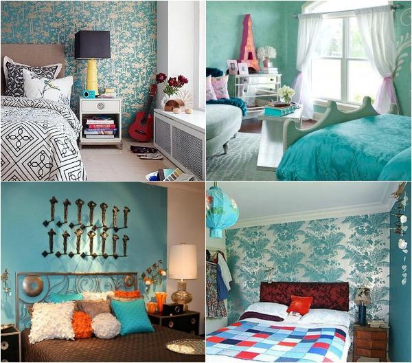 Бирюзовые стены в комнате фото