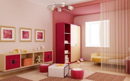 Красный, розовый и бордовый в интерьере детской