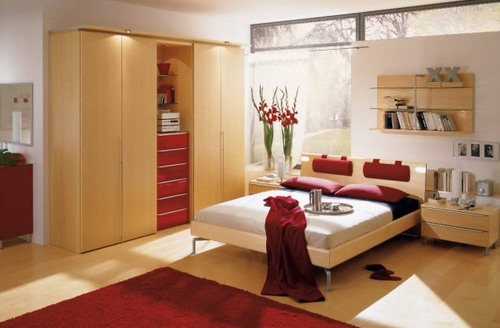 бордовый цвет в интерьере спальни