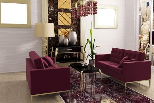 Бордовая мебель в интерьере