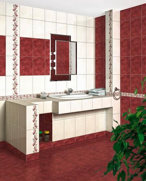 Бордовая плитка для ванной комнаты