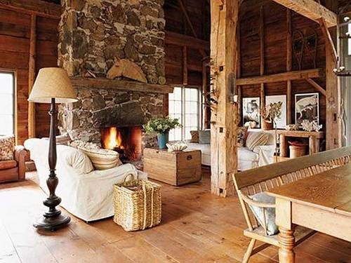 Деревенский стиль в гостиной частного дома