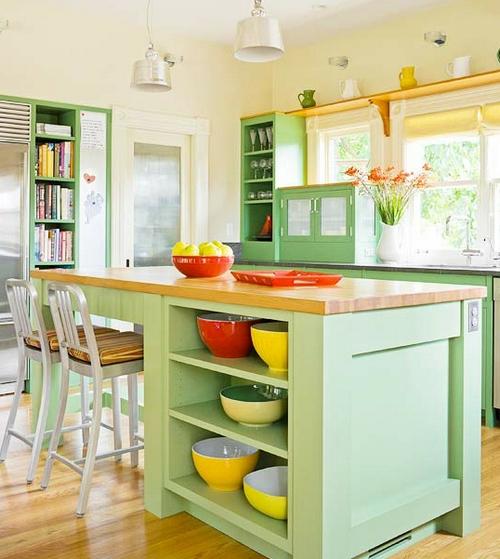 Красивая фисташковая кухня дизайн