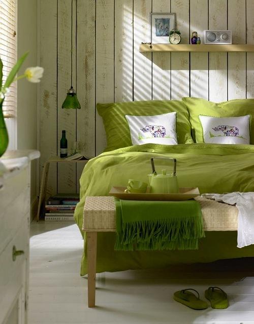 спальня фисташкового цвета