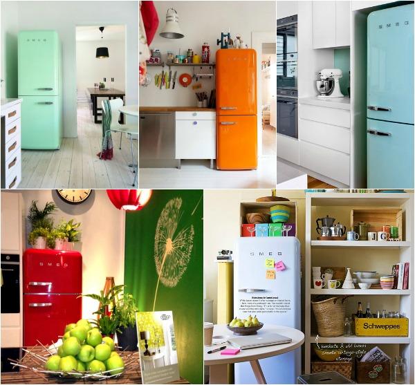 Холодильники ретро от Smeg в интерьере кухни