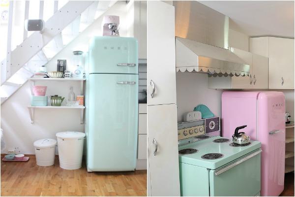 Ретро холодильник Smeg в интерьере кухни фото