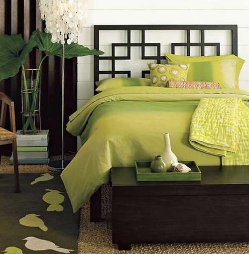 Дизайн спальни в оливковом цвете