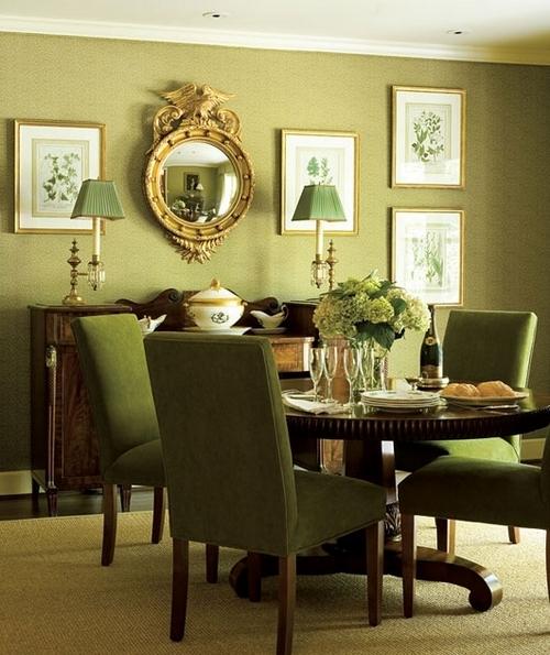 Оливковые стены и мебель в интерьере гостиной