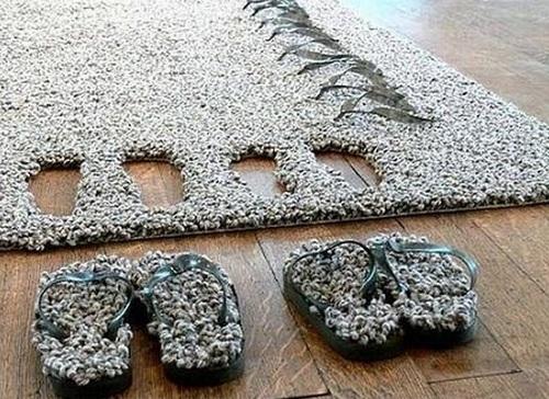 Прикроватный коврик с тапками