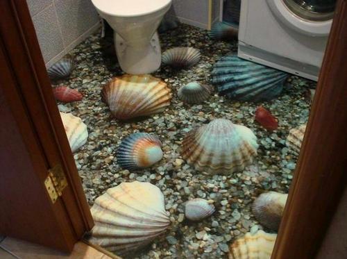 Пол в ванной с 3 эффектом