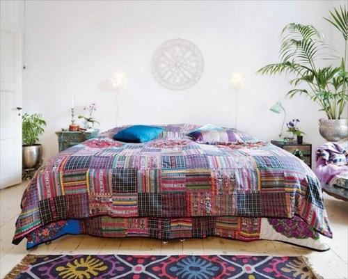 Постельное белье и коврик в стиле бохо