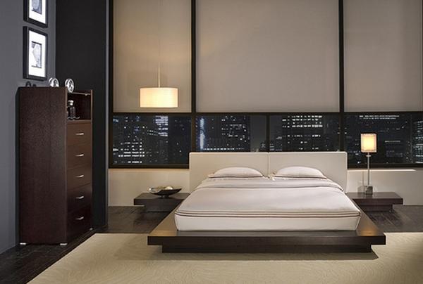 Спальня с большими окнами в стиле минимализм