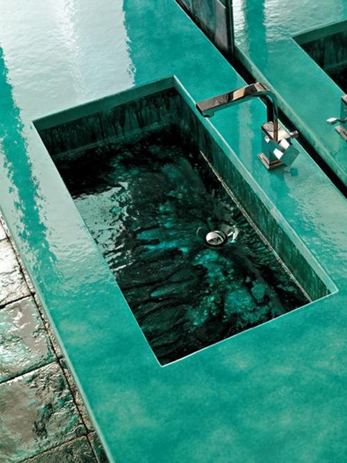 Сантехника для ванной цвета морской волны