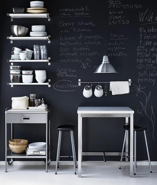 Меловая доска на всю стену кухни