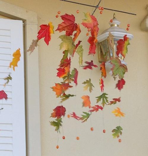 Декор из сухих осенних листьев фото