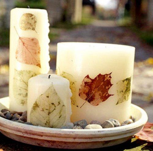 Оригинальный декор свечей засушенными листьями