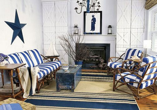 Сине-белая полоска в интерьере