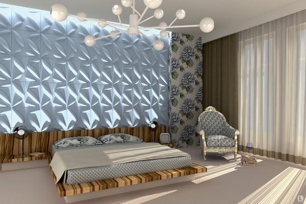Декоративные 3D панели с подсветкой в интерьере спальни