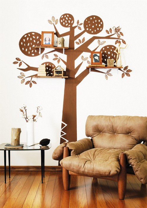 Декоративное дерево на стену с полками