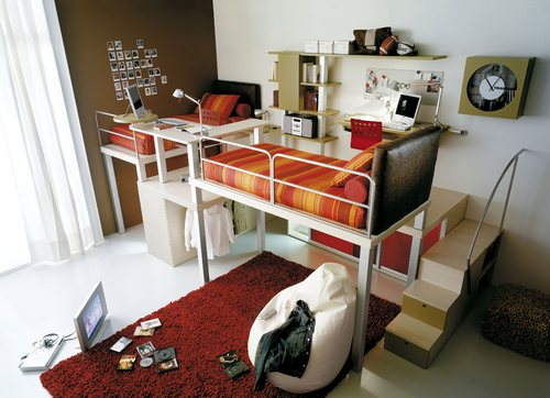 Комната для двойни с кроватями-чердаками