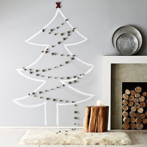 Нарисованная елка своими руками на стене