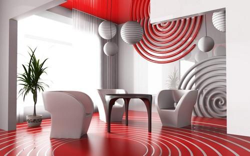 Объемные фотообои с 3D эффектом в интерьере гостиной