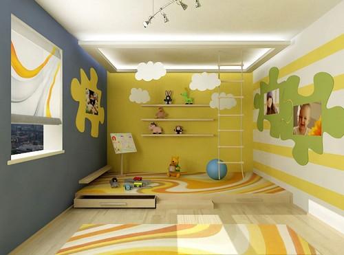Игровая зона в детской комнате на подиуме