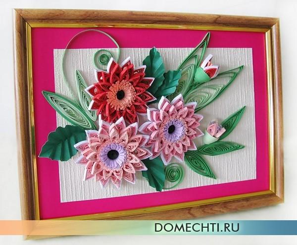 Картина в технике квиллинг (цветы): мастер-класс с фото, Дом Мечты