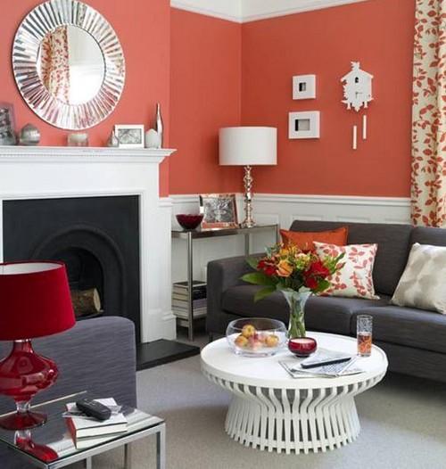 Коралловый цвет стен в гостиной фото