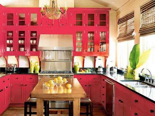 Кухня в малиновом цвете