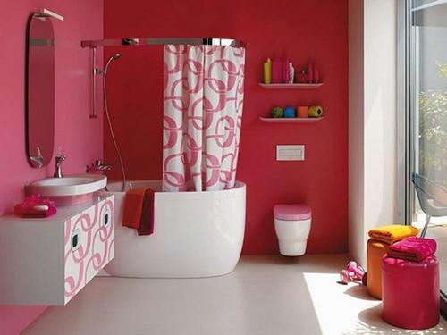 Малиновая ванная комната фото