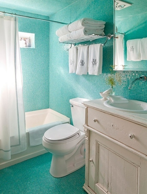 Ванная комната в мятном цвете