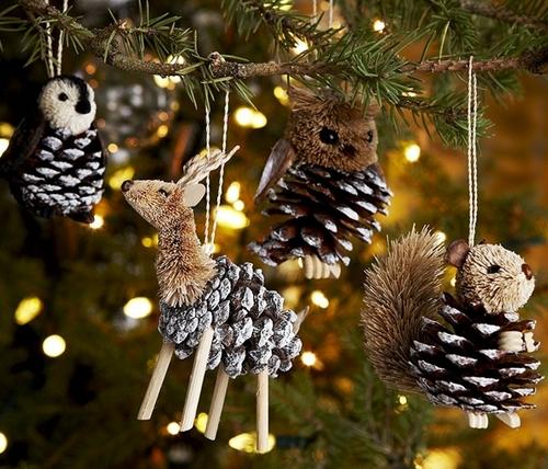 Игрушки-зверушки на елку из шишек