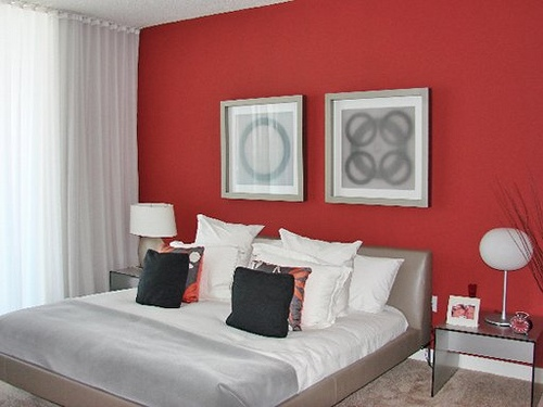 Цвет стен в спальне вишня