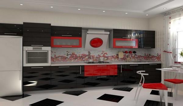 Глянцевая кухонная мебель хай-тек