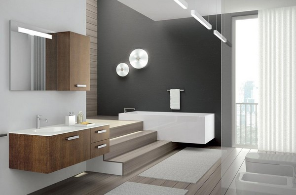Мебель для ванной хай-тек подвесная