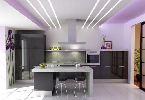 Многоуровневые потолки с подсветкой фото