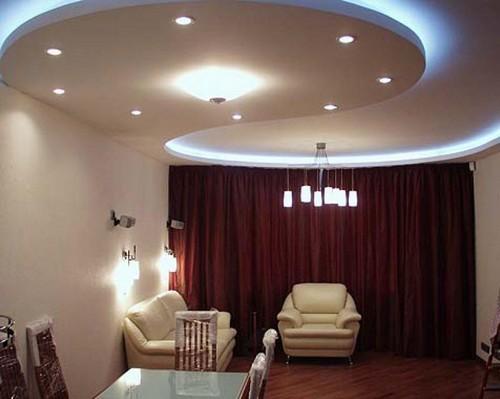 Потолки из гипсокартона с подсветкой фото