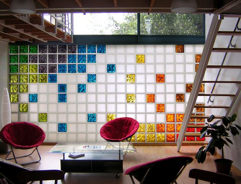 Декоративные стеклоблоки в интерьере