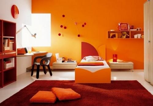 Сочетание абрикосового цвета в интерьере детской