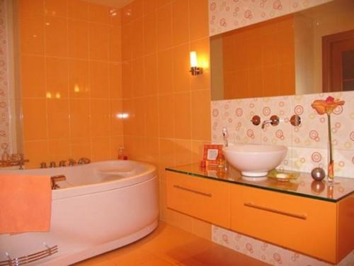 Абрикосовый цвет в интерьере ванной комнаты