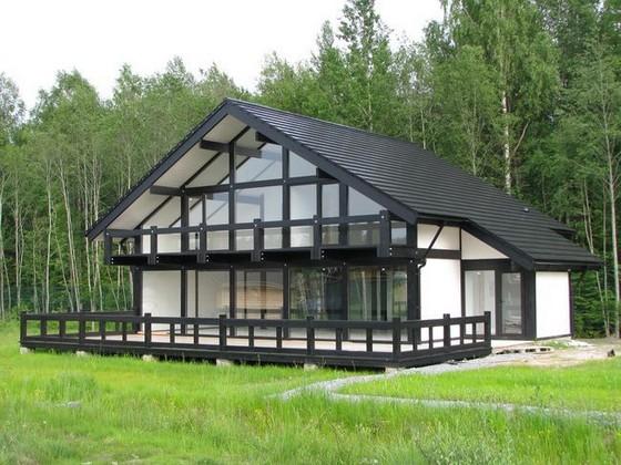 каркасный дом в стиле фахверк