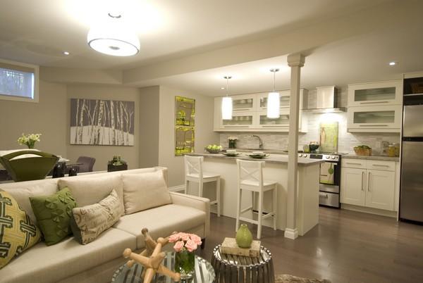 Дизайн студии кухня с гостиной