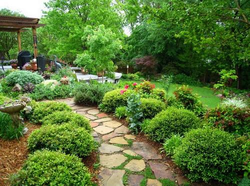 Оформление бордюров цветами и кустарниками