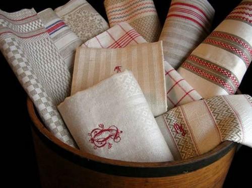 Полотенца кухонные льняные