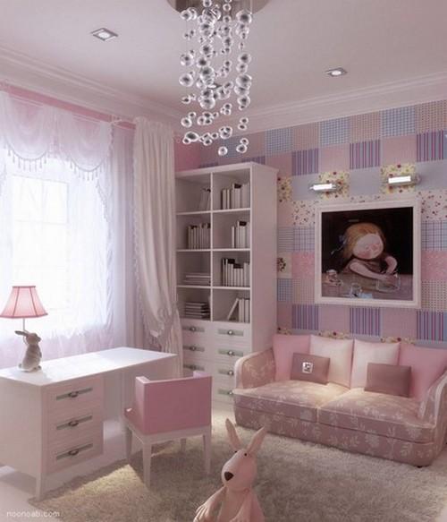 Лиловые обои в интерьере детской комнаты