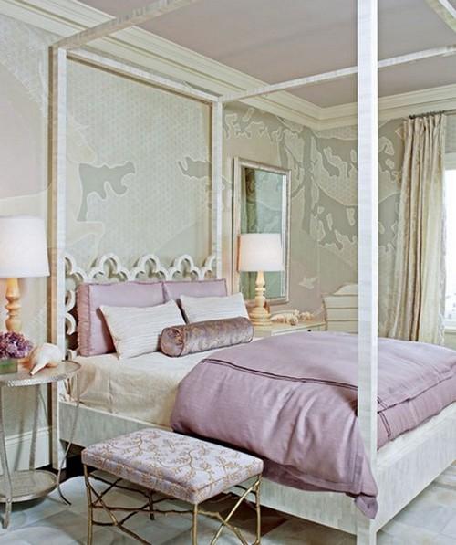 Дизайн спальни в лиловых тонах фото