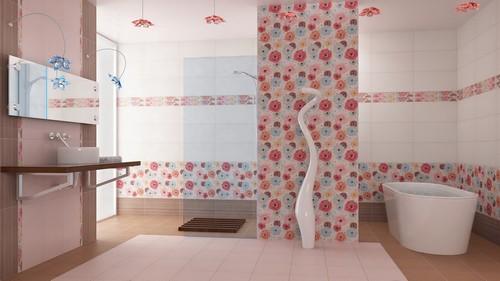 Комбинирование обоев и плитки в ванной