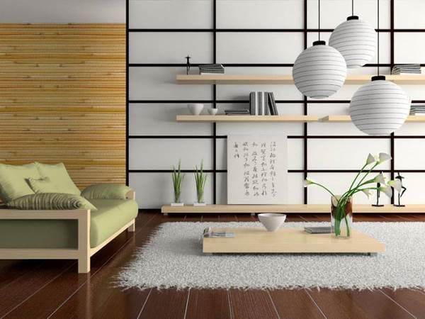 Бамбуковые обои в гостиной фото